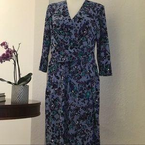 Ellen Tracy Faux Wrap Print Dress NWT Size L